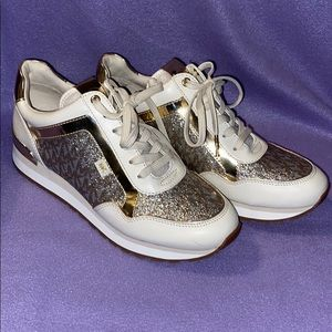 Michael Kors Gold & Silver Sparkle Sneakers Size 8